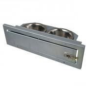 Mangeoire à plateau tournant  - 2 bols (Ø 11 cm)- Inox
