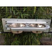 Mangeoire à plateau tournant  - 2 bols (Ø 16 cm)- Inox