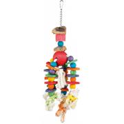 Jouet bois coloré avec chaîne, liège et corde 35 cm