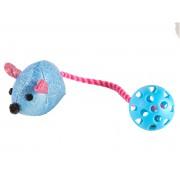 Jouet souris avec balle élastique bleue 7 cm