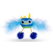Jouet hibou plumes et pompons bleu 15cm