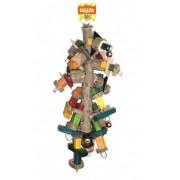 Jouet bois avec cloches 79cm pour perroquets