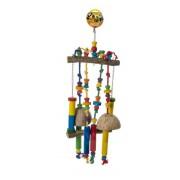 Jouet perche avec corde et coco 70x25cm