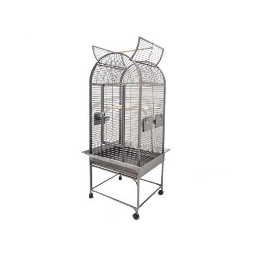 Cage perroquet Myro gris martelé, 66 x 56x174cm
