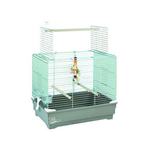 Cage grand oiseau Ivonne gris, 66x45x60cm
