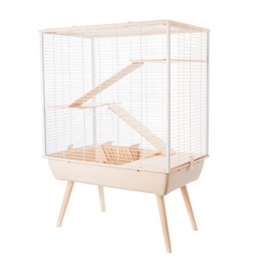 Cage neo cosy grand rongeur l 77.5 x p 47.5 x h 109 cm beige