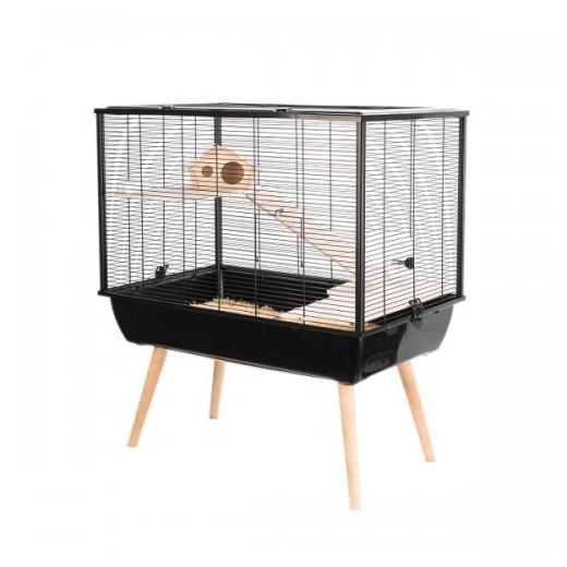 Cage neo silta petit rongeur l 77.5 x p 47.5 x h 87.5 cm noire