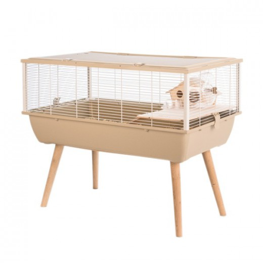 Cage neo nigha petit rongeur l 77.5 x p 47.5 x h 64.5 cm beige