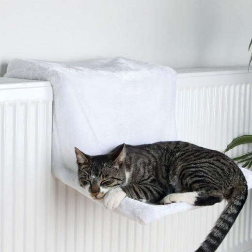 Lit radiateur, peluche, 45 x 24 x 31 cm, blanc