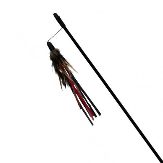 Canne à pêche avec plumes et bandes de cuir, 50 cm