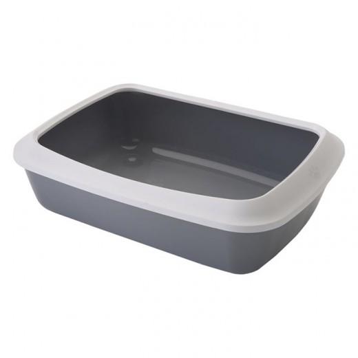 Bac à litière Iriz 42 cm avec rebord - blanc-gris froid