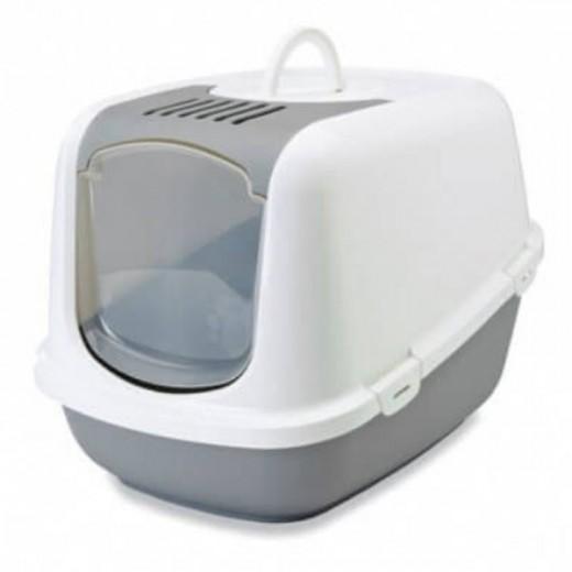 Grande litière pour chat Nestor Jumbo - blanc/gris froid