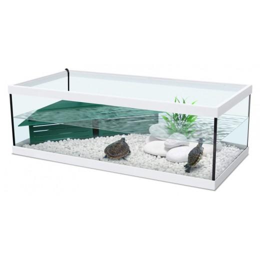 Aquarium Tortue d'eau Tortum 75 avec filtre - Blanc 75x36x25 cm