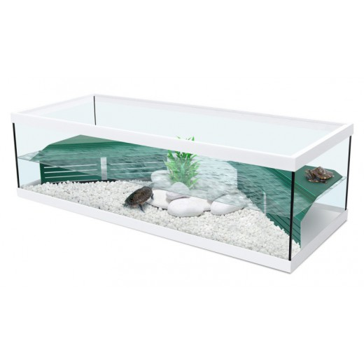 Aquarium Tortue d'eau Tortum 100 avec filtre - Blanc 100x40x30 cm