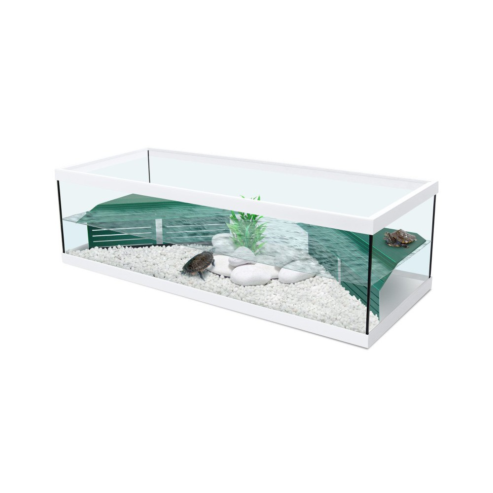 Vivarium tortue d 39 eau tortum 100 avec filtre blanc for Aquarium tortue