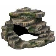 Rocher d'angle avec caverne et plateforme, 19 × 17 × 17 cm